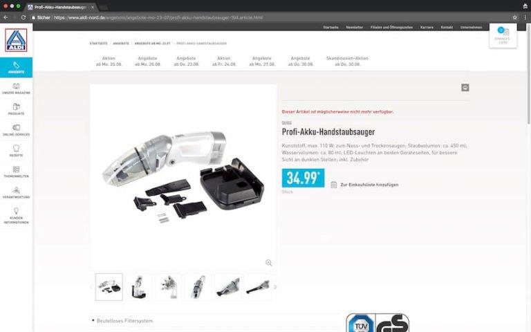 Akku Staubsauger bei Aldi kaufen (Screenshot: 20.08.2018)