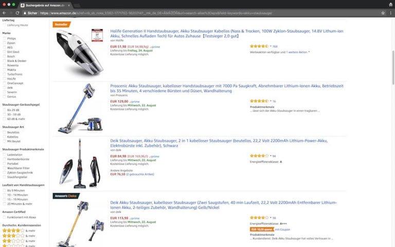 Akku Staubsauger bei Amazon kaufen (Screenshot: 20.08.2018)