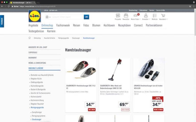 Akku Staubsauger bei Lidl kaufen (Screenshot: 20.08.2018)