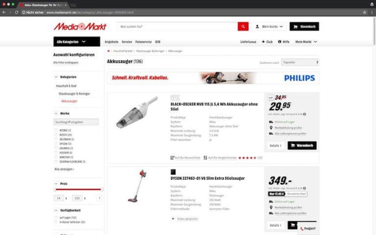 Akku Staubsauger bei Media Markt kaufen (Screenshot: 20.08.2018)