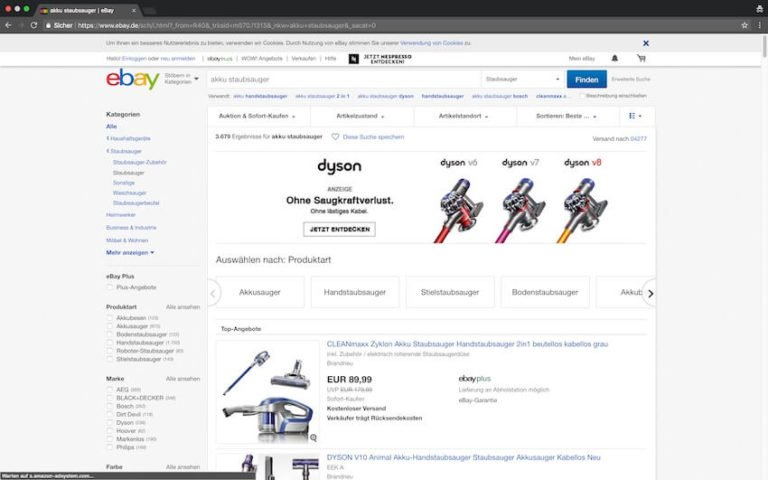 Akku Staubsauger bei ebay kaufen (Screenshot: 20.08.2018)