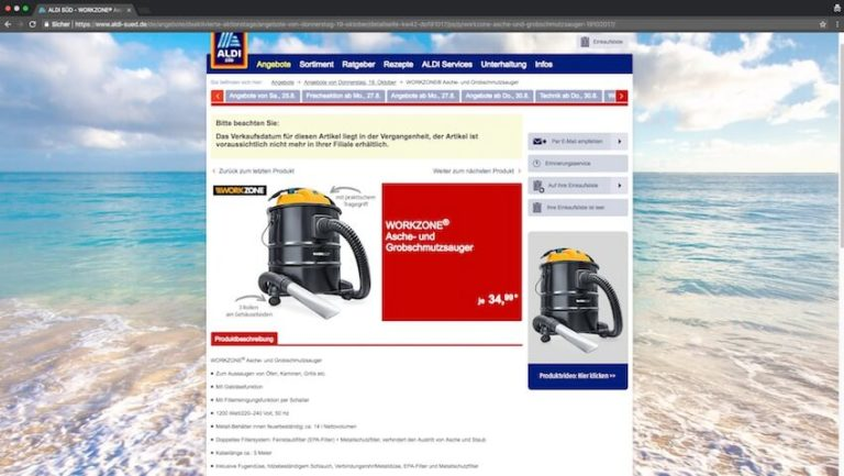 Aschesauger bei Aldi kaufen (Screenshot 27.08.2018)