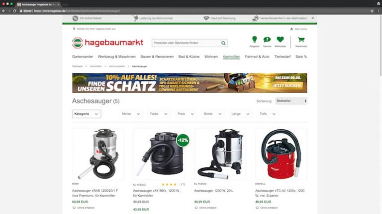 Aschesauger bei Hagebaumarkt kaufen (Screenshot 27.08.2018)