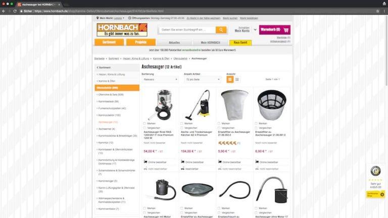 Aschesauger bei Hornbach kaufen (Screenshot 27.08.2018)