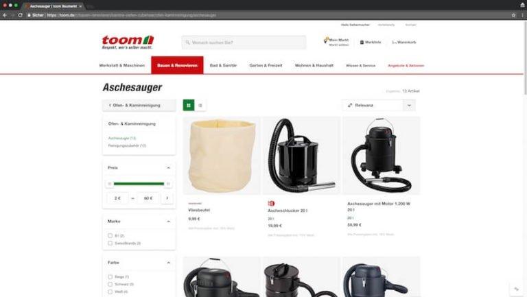 Aschesauger bei Toom kaufen (Screenshot 27.08.2018)