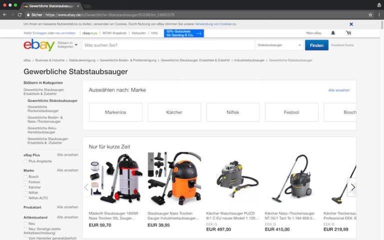 Industriestaubsauger bei ebay kaufen (Screenshot- 21.08.2018)