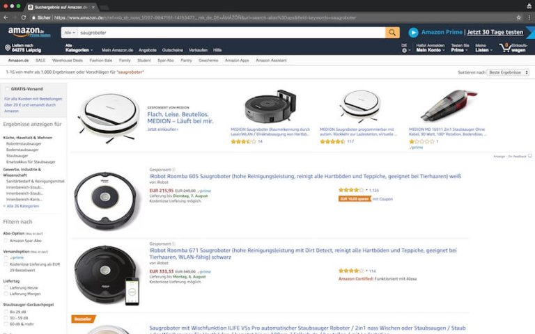 Saugroboter bei Amazon kaufen