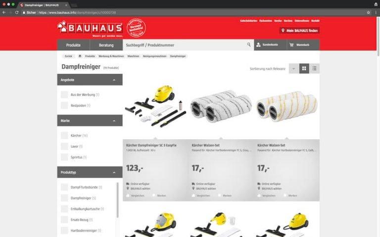 Dampfreiniger bei Bauhaus kaufen (Screenshot 07.09.2018)