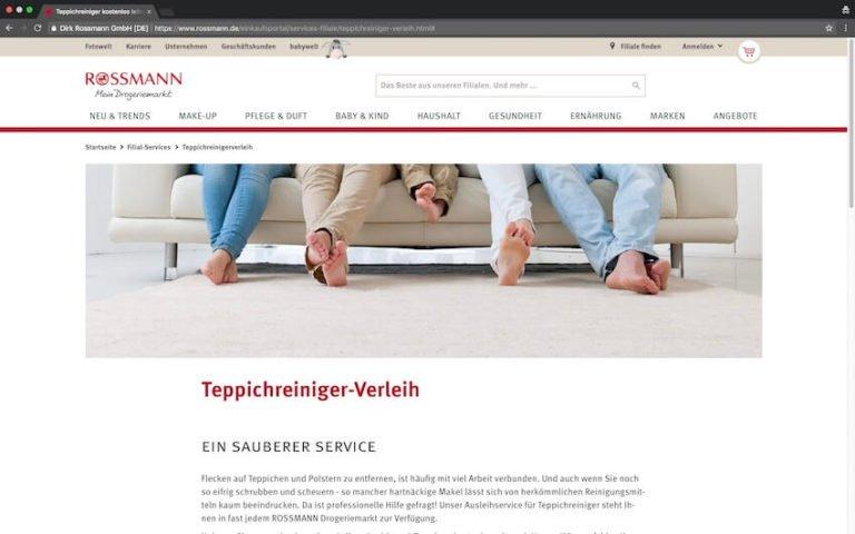 Dampfreiniger bei Rossmann leihen (Screenshot: 07.09.2018)