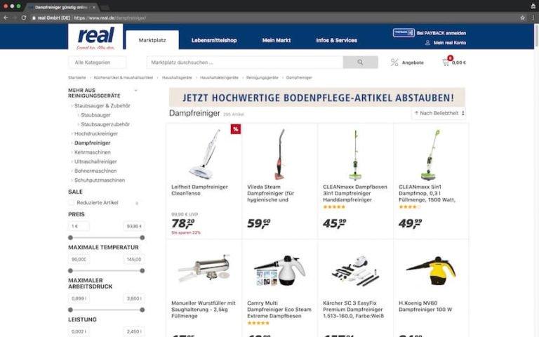 Dampfreiniger bei real kaufen (Screenshot: 07.09.2018)