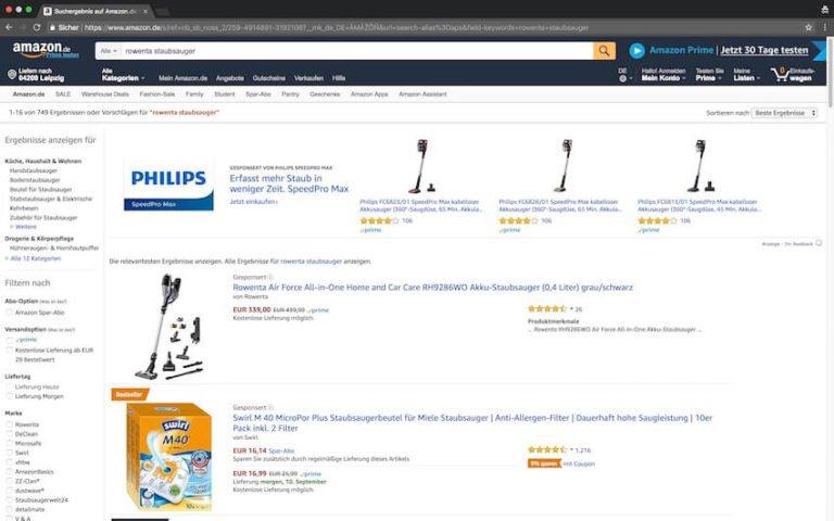 Rowenta Staubsauger bei Amazon kaufen (Screenshot 09.09.2018)