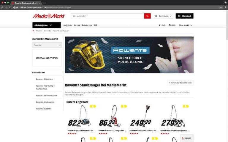 Rowenta Staubsauger bei Media Markt kaufen (Screenshot 09.09.2018)