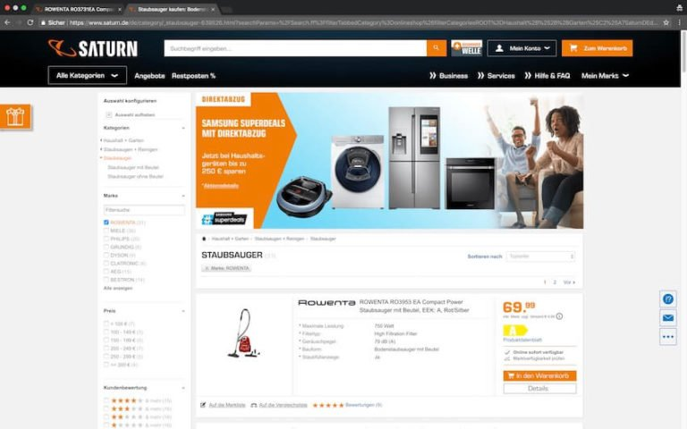 Rowenta Staubsauger bei Saturn kaufen (Screenshot 09.09.2018)