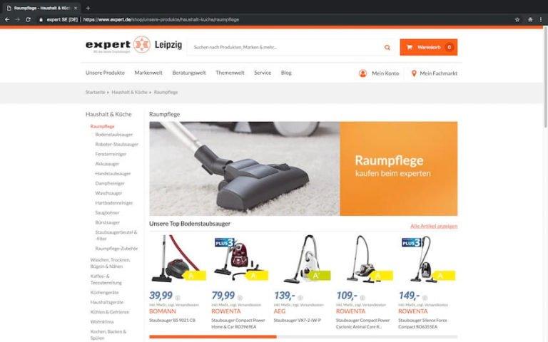 Staubsauger bei Expert kaufen (Screenshot 15.09.2018)