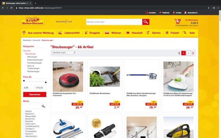 Staubsauger bei Netto kaufen (Screenshot 15.09.2018)