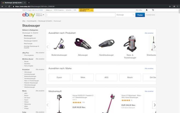 Staubsauger bei ebay kaufen (Screenshot 15.09.2018)