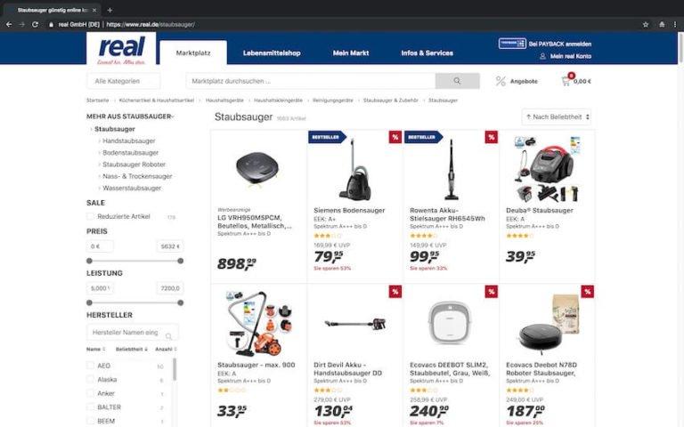 Staubsauger bei real kaufen (Screenshot 15.09.2018)